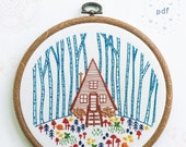COZY CABIN - pdf embroidery pattern, embroidery hoop art, a frame, cabin in the woods, mushrooms and snails, forest get away, cozy cottage
