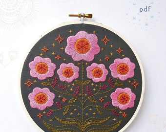 ENCHANTED - pdf embroidery pattern, embroidery hoop art, hand embroidery, purple flowers on black, cozyblue, folksy flowers, magic