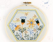 SUMMER BREEZE - pdf embroidery pattern, embroidery hoop art, hand embroidery, retro hexie, vintage stoneware inspired, honeycomb, coneflower