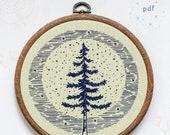 MOONLIGHT PINE - pdf embroidery pattern, embroidery hoop art, hand embroidery, blue moon, full moon, pine tree, summer sky, starry sky, tree