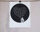 screenprint - STAR HEART - stargazing series, celestial print, modern illustration, night sky design, house with heart, heart of stars