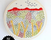 EVENING WALK - pdf embroidery pattern, embroidery hoop art, fall colors, autumn inspired, wildflowers and grass, mountain scene, embroidered