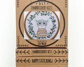 OWLETTE hand embroidery kit - embroidery hoop art, wise owl, owl with wreath, fall wreath design, stitched owl, bird embroidery, owl baby