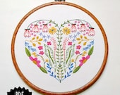 FULL HEART - pdf embroidery pattern, embroidery hoop art, floral heart, hand embroidery, heart of flowers, vines and flowers, valentines day