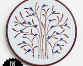 FALL : BLUEBIRDS - pdf embroidery pattern, embroidery hoop art, bluebirds on a tree, flock of birds, bluebird of happiness, hand embroidery