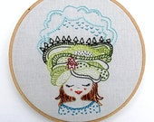 HOME GIRL - pdf embroidery pattern, mountains and sky, girl embroidery design, lady head, girl with house, face embroidery design, cozyblue