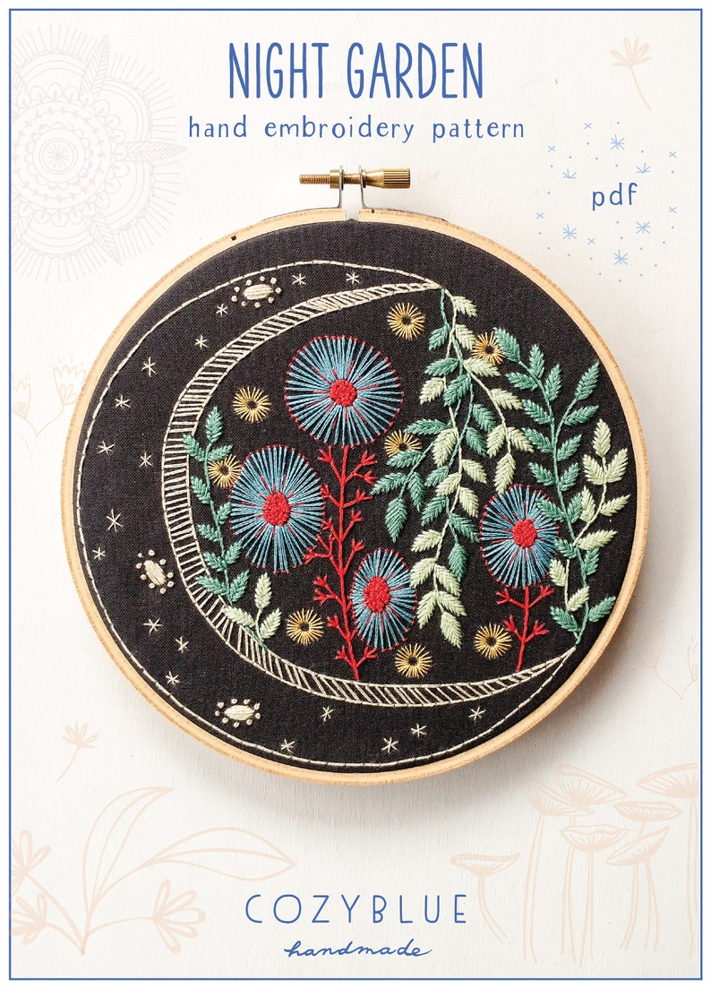 NIGHT GARDEN  pdf embroidery pattern embroidery hoop art image 0