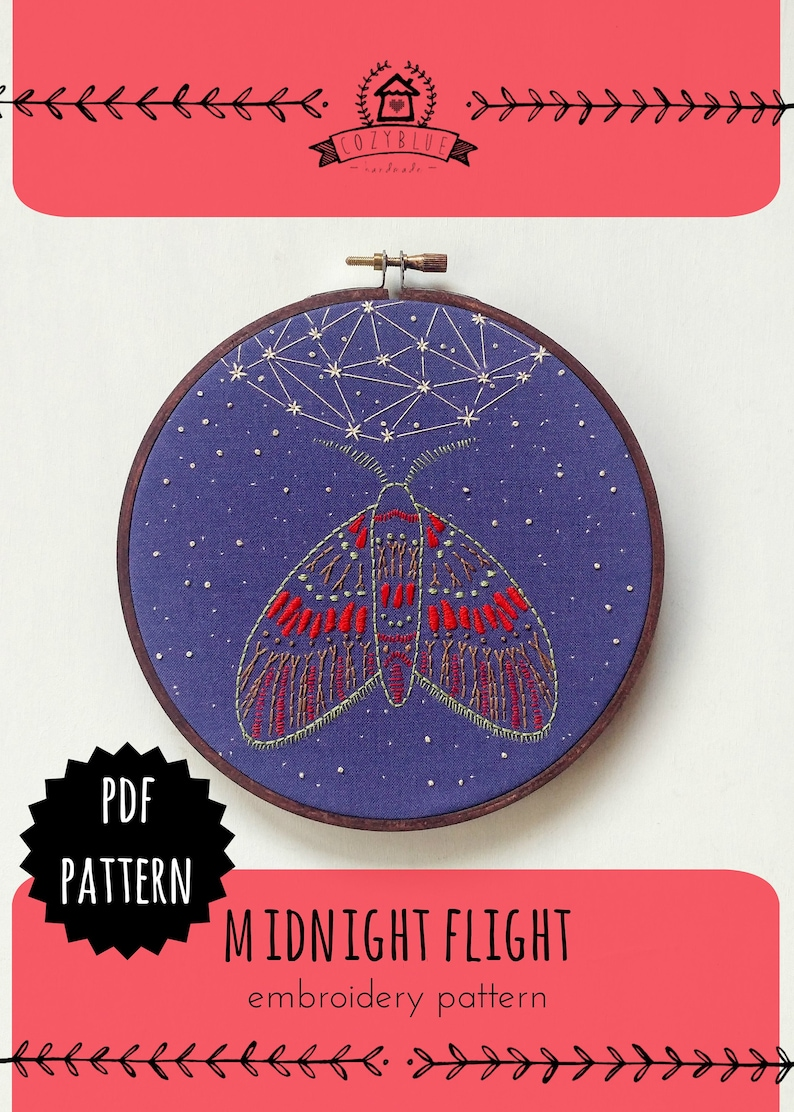 MIDNIGHT FLIGHT pdf embroidery pattern moth and moon image 0