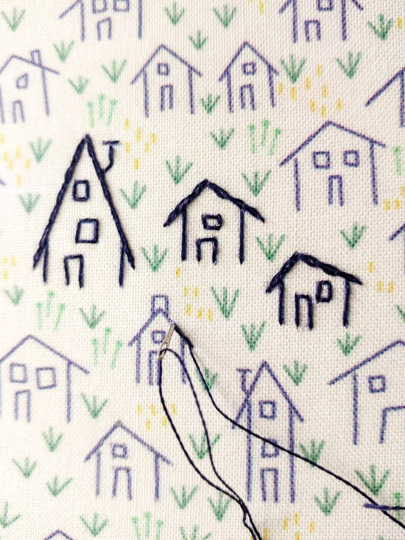 little tiny houses housewarming hand embroidery village stitched houses diy IT TAKES A VILLAGE embroidery kit home sweet home