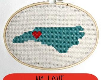NC love cross-stitch pattern, state pride, north carolina, asheville, tarheel state, x-stitch pattern, north carolina design, pdf, cozyblue