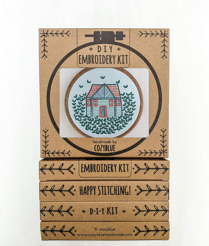 HOME GROWN embroidery kit  embroidery hoop art cozy cabin image 0
