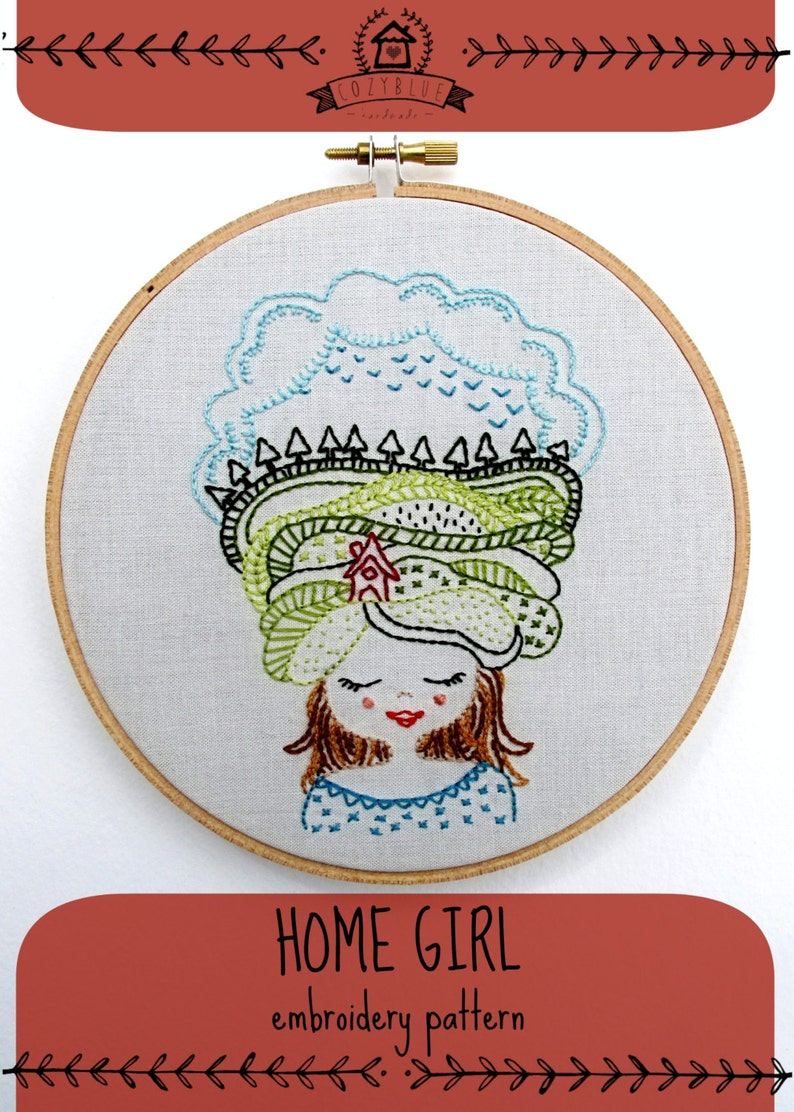HOME GIRL  pdf embroidery pattern mountains and sky girl image 0