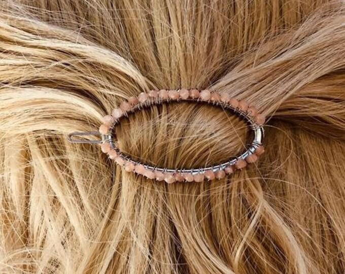 Gemstone Hair Barrette Silver Hair Clip for women Peach Moonstone Hair Claw for long hair Boho Hair Accessory Luxury Hair Jewelry gold