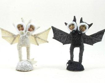 Spun Cotton Vintage Style Siamese Bat Children Figure (MADE TO ORDER)