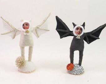 Vintage Inspired Spun Cotton Bat Child Figure (MADE TO ORDER)