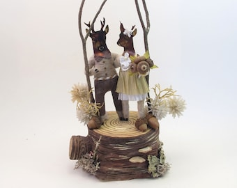 READY TO SHIP Vintage Inspired Spun Cotton Woodland Deer Wedding Cake Topper Figure Ooak