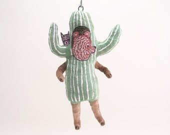 Spun Cotton Halloween Cactus Bear - In Partnership with Coral & Tusk