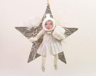 READY TO SHIP Spun Cotton Vintage Style Twinkle Star Girl Ornament