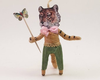 Vintage Inspired Spun Cotton Gentle Tiger Man Figure/Ornament (MADE TO ORDER)