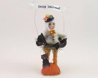READY TO SHIP Halloween Princess Vintage Inspired Spun Cotton Figure Ooak