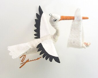 29bb8c71c Vintage Inspired Spun Cotton Flying Stork and Baby Ornament (READY TO SHIP)