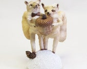 Vintage Style Spun Cotton Squirrel Wedding Topper Light Teastain Color (MADE TO ORDER)