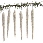 Spun Cotton Vintage Style icicle Ornament (Set of 6) (READY TO SHIP)