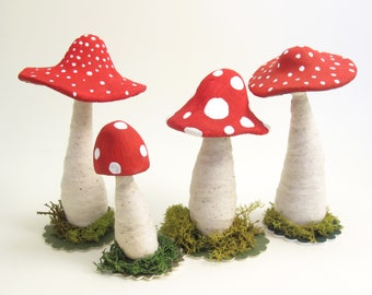 One Single Standing Toadstool Mushroom Figure: Assorted White Spotted Red Caps - Spun Cotton Vintage Inspired