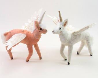 Vintage Inspired Spun Cotton Pegasus Unicorn Figure/Ornament (MADE TO ORDER)