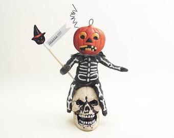 Spun Cotton Vintage Inspired Pumpkin Skeleton Skull Seat Halloween Figure