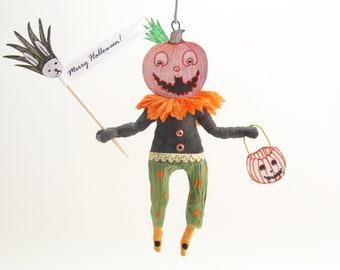 Spun Cotton Halloween Happy Jack O' Lantern  - In Partnership with Coral & Tusk