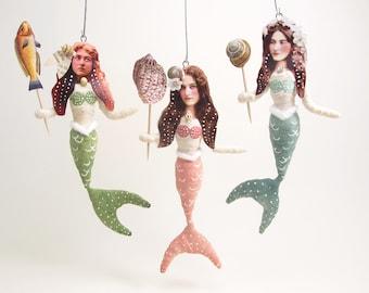 Spun Cotton Vintage Style Mermaid Ornament