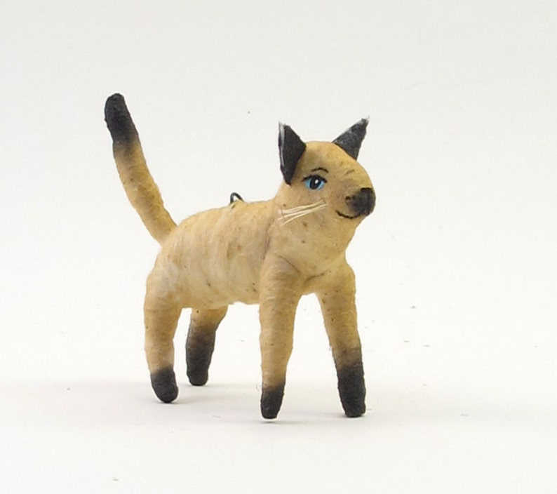 Vintage Style Spun Cotton Siamese Cat Ornament/Figure (MADE TO ORDER)