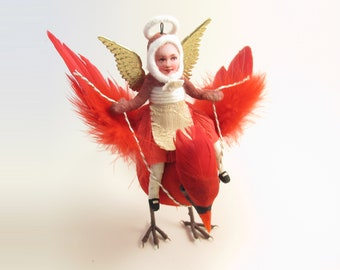 READY TO SHIP - Vintage Inspired Spun Cotton Angel Riding A Cardinal Ornament (Cardinal Might Slightly Vary)