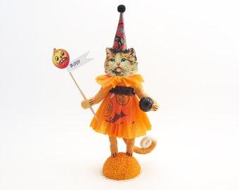 Spun Cotton Vintage Inspired Pretty Kitty Halloween Figure