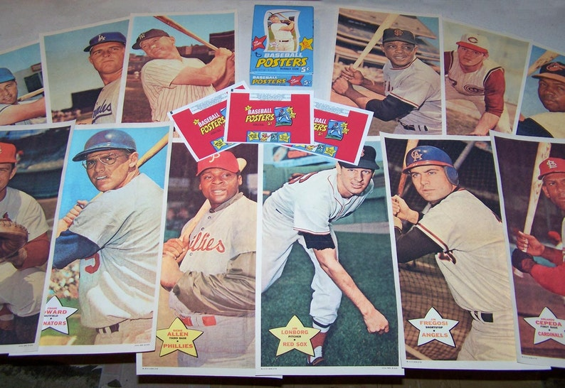 1968 Topps Reproduction Entire Set Baseball Posters Display Box Complete 24 Posters Each 185 X 975 And 24 Replica Wrappers