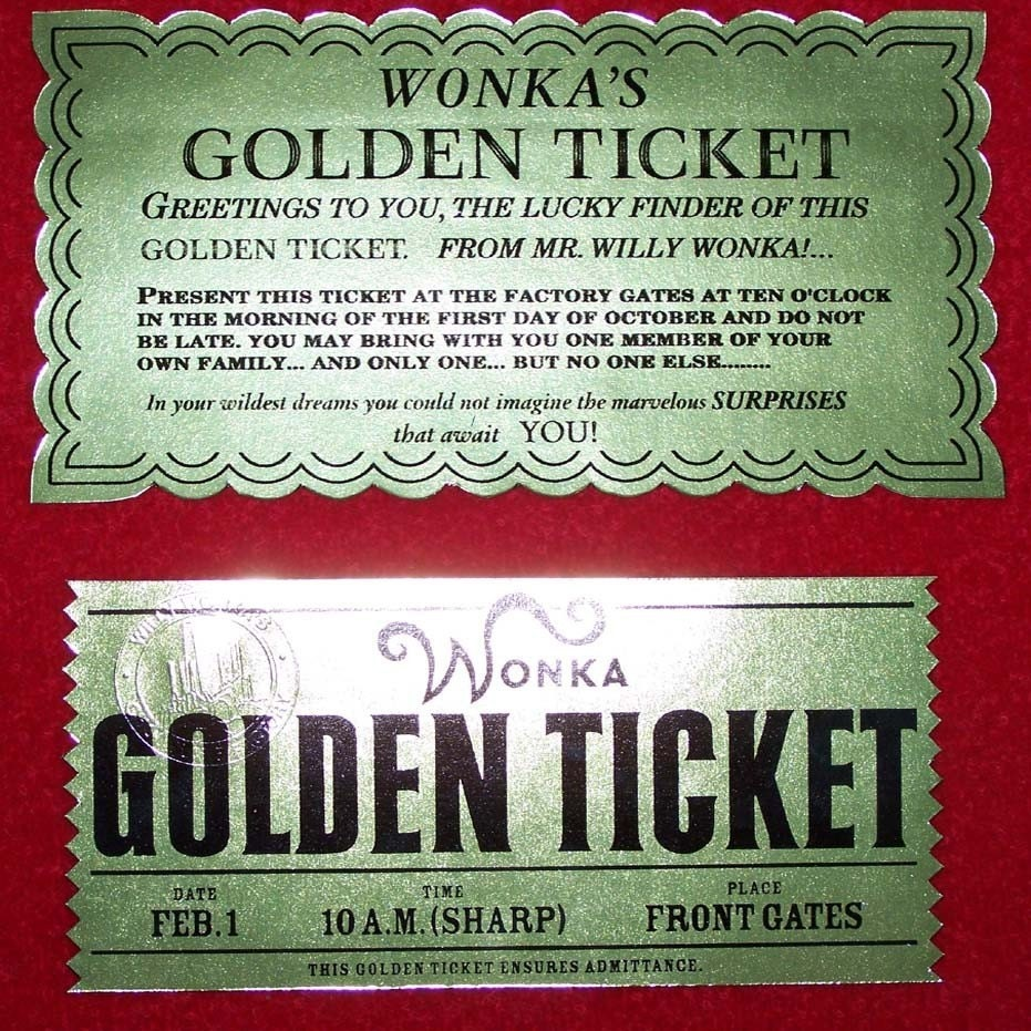 Golden Ticket from Willy Wonka and Charlie and the Chocolate | Etsy