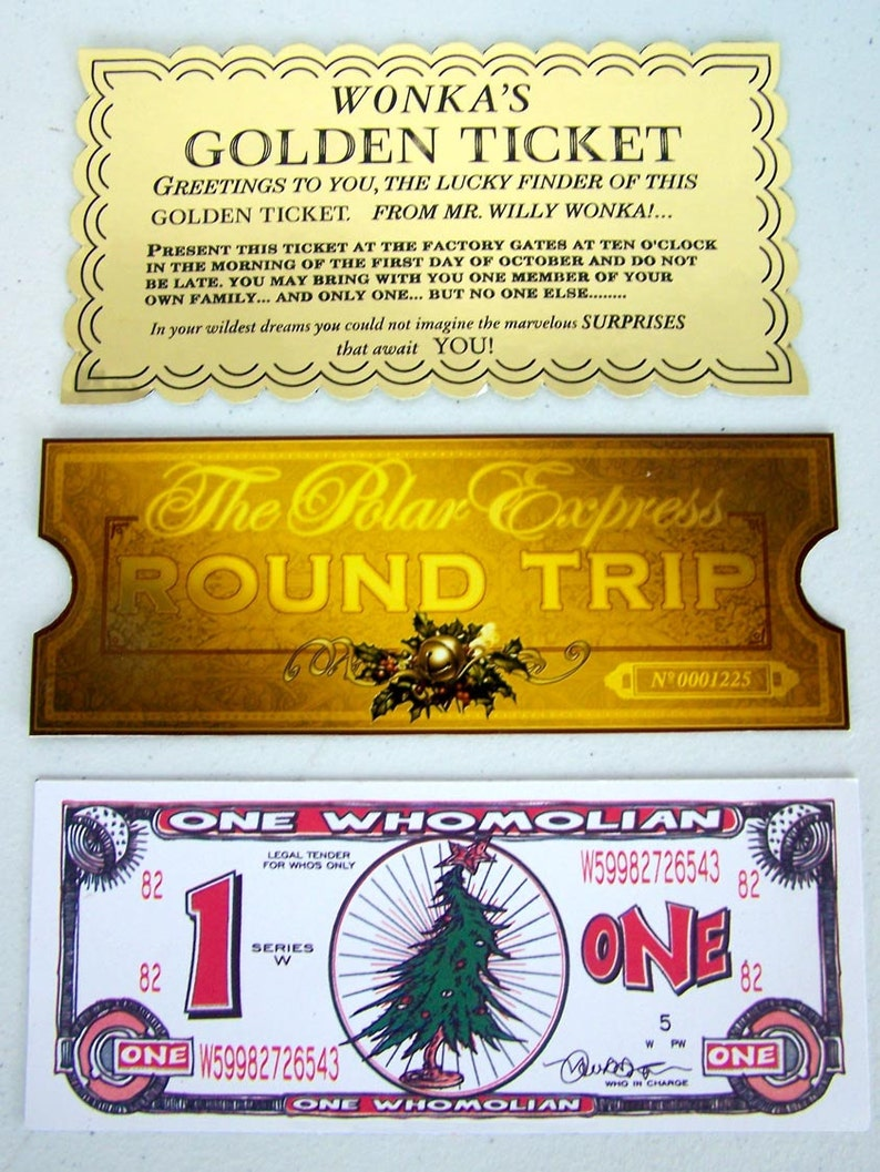 picture relating to Polar Express Golden Ticket Printable referred to as Wonka Golden ticket Polar Convey Golden Prepare Ticket and How The Grinch Stole Xmas \