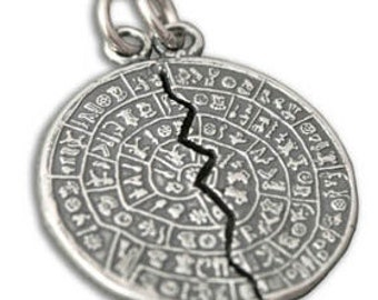 Minoan Phaistos Disk - Sterling Silver Split Pendant