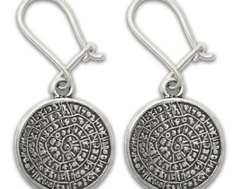 Minoan Phaistos Disk ~ Sterling Silver Pierced Earrings