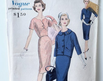 Vogue 4982 Dress and Jacket Pattern - Size 16, Bust 36 1950s Dress with Geometric Bodice and Button Closure - Jackie O. Dress and Jacket