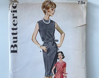 Butterick 2271 - Short Sleeve or Sleeveless Dress with Seam Details - Size 14, Bust 34 1960s Dress Pattern with Yoke Panel and Pockets