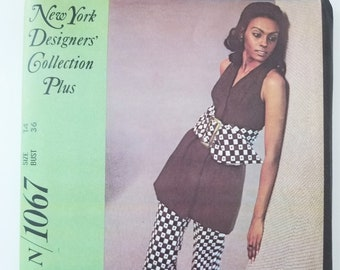 1970s Sewing Pattern Size 14, Bust 36 - New York Designer's Collection 1067 Sleeveless Dress or Top and Pants - Princess Seam Tunic Uncut