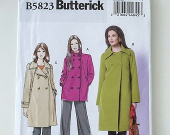 Butterick 5823 Coat Pattern - Double Breasted Coat Sewing Pattern with Welt Pockets & Long Sleeves - Easy Outerwear Pattern Size 8-16