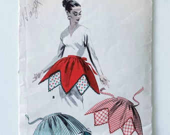 Harlequin Apron - One Size 1950s Apron Sewing Pattern - Hostess Apron Sewing Pattern with Geometric Edge