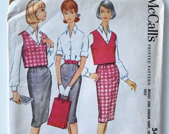 McCalls 5423 Vest, Pencil Skirt and Button Up Shirt - 1960s Separates Pattern Size 16, Bust 36 - Cropped Vest, Shirt & Darted Skirt Pattern