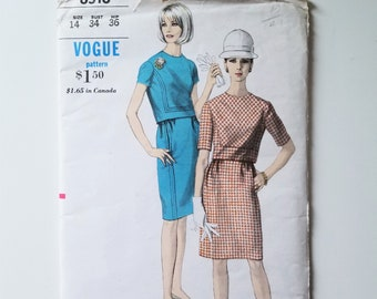 Vogue 6516 Two Piece Blouse and Skirt with Front & Back Bias Cut Insets - Size 14 1960s Skirt and Top with Back Button and Top Stitching