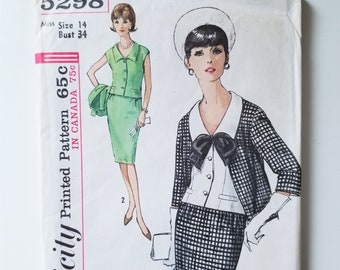 Simplicity 5298 Top, Skirt and Jacket - Size 14, Bust 34 1960s Skirt Suit with Collared Blouse and Pencil Skirt - Misses Suit and Weskit Top