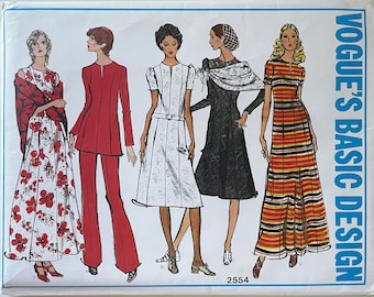 Vogue 2554 Vintage Dress Pattern - 1970s Princess Seamed Dress with Scarf and Trousers - Size 12 Bust 34, Hip 36 Dress with Pockets
