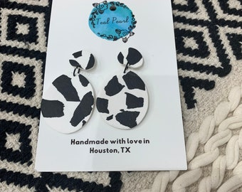 Cow print dangle earrings